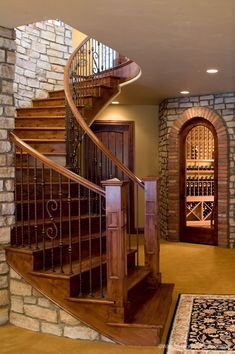 Viscaya Luxury Italian Home Stairs To the Wine Cellar Basement Stairs, House Stairs, Home Modern, Italian Home, Staircase Design, Stair Design, Curved Staircase, Stairways, My Dream Home