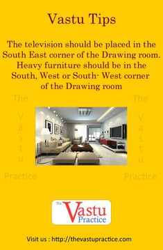 The Television Should be placed in the South East corner of the Drawing room. Heavy furniture should be in the South, West or South-West corner of the Drawing room. Indian House Plans, Best House Plans, Kitchen Vastu, West Facing House, Drawing Room Interior, Drawing Rooms, Drawings, Feng Shui And Vastu, Science Room