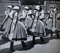 Wedding Procession of Girls in Old Kerchiefs, taken from the book, Textile Folk Art, by Antonin Vaclavik and Jaroslav Orel