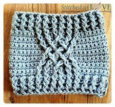 Using three different cable stitches and an optional decorative strap and button, a total of six different boot cuffs can be created with this pattern!