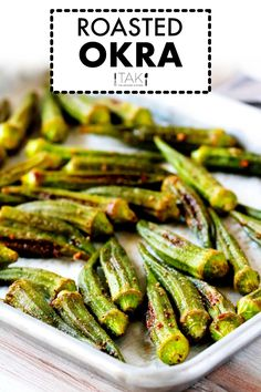 Need a quick and easy Southern side dish for summer? You can't go wrong with this simple okra recipe! It's a healthy, quick-fix side for perfectly cooked oven-roasted okra seasoned with salt, pepper, and garlic powder. Barbecue Side Dishes, Potluck Side Dishes, Potluck Recipes, Side Dishes Easy, Vegetable Side Dishes, Side Dish Recipes, Vegetable Recipes, Dinner Recipes, Okra Recipes