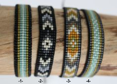 Woven, Matt miyuki Beads Bracelet closes with a cord in nylon adjustable and adjustable depending on the size of your wrist. Water resistant and robust and comfortable, it does not interfere in sport. Colors: 1 and 4: grey anthracite, green water, pale green, Khaki reason 2: arrows, charcoal gray / black / ecru 3: ground mustard, Khaki, anthracite, White arrows Possibility to order other colors (Navy Blue, blue jean, yellow, gray, off-white, black, beige,...)