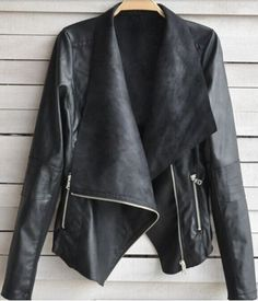 Fashionable Turn-Down Collar Long Sleeve Zippered PU Leather Jacket For WomenCoats | RoseGal.com