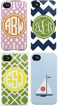 monogrammed iPhone case. if I had an iphone the sail boat one would be mine!