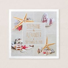 Beach Theme Starfish and Heart Paper Napkins. Beach Wedding Accessories  Every little bit of decor adds to the Wedding Theme. With a beach theme you can easily add items with sea shells and other beach decor. There are many items that will bring the whole theme together easily.