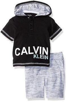 Calvin Klein Baby Boys' S/S Hooded Top 2pc Short Set 0/3M 3/6M 6/9M 12M 18M 24M | eBay