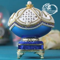blue White  Faberge style Russian carved egg music box free shipping e20 on AtomicMall.com http://atomicmall.com/view.php?id=2287311_source=Twitter_medium=ProductToools