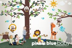 Wall decal Playroom Growth Chart Alphabet tree door pinknbluebaby, $259,00