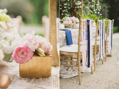 Beautiful Blush Wedding Reception w/a trouch of Blue...the ribbon chair backs are wonderful.