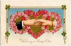This is such a fun one! This Victorian postcard could be used for Valentine's Day, St Patrick's Day or an Anniversary. I love the hands! Vintage Cards, Vintage Postcards, Vintage Images, Valentine Images, Valentine Day Love, Victorian Valentines, Vintage Valentines, Victorian Crafts, Victorian Era