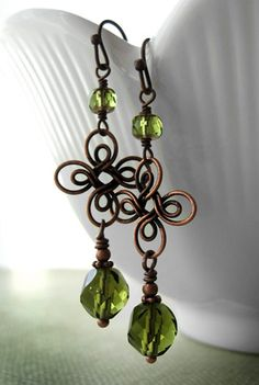 Lucky four leaf clover with antiqued copper earrings