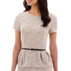 Liz Claiborne® Short-Sleeve Belted Peplum Bouclé Top  found at @JCPenney