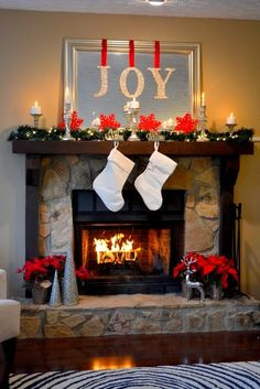 26 Amazing DIY Fireplace Mantel Christmas Makeovers; love the mantle in the cover image