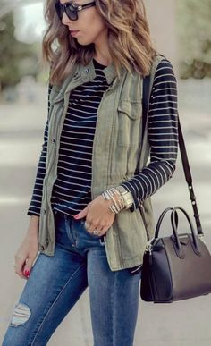Cute Fall Outfit Idea Vest Plus Stripped Top Plus Bag Plus Rips