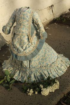 Gorgeous antique fashion doll dress, 2 pcs outfit, cotton and velvet