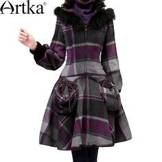 Artka - Artka Women's Raccoon Fur Collar Slim Waist Vintage Wool Coat Color Deep Purple FA10027D