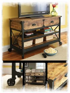 Flat TV Table Wood Metal Stand Industrial Led Panel Wheel 52 Inch Vintage Cart #NeoClassical