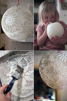 Okay, the instructions are in German but I think they are using lace and glue to make a really pretty light shade.