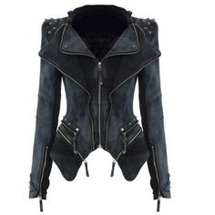 Womens Punk Spike Studded Shoulder Vintage Denim Jacket Jeans coat (160 BRL) ❤ liked on Polyvore featuring outerwear, coats, jackets, vintage coats, jean jacket, punk coats, punk jean jacket and punk denim jacket
