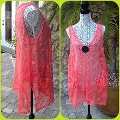 ✨HP✨BOUTIQUE CORAL COVER UP Beautiful open weave design , slip on cover up , 2 side pockets 100% polyester, NWT✨HOST PICK by @crassvitsa ✨HOST PICK by @officialp ✨ INDIA BOUTIQUE Dresses