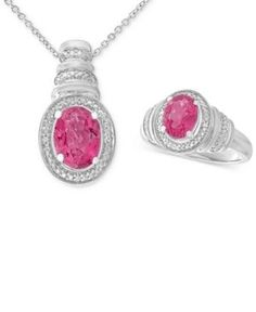 Pink Topaz (3 ct. t.w.) & Diamond Accent Pendant Necklace and Matching Ring in Sterling Silver - Pink