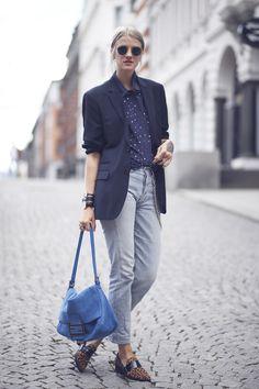 light denim, blouse and oversized blazer