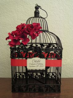 Black Bird Cage Card Box / Red Roses & Hydrangeas / Wedding Card Holder Birdcage / Wedding Birdcage