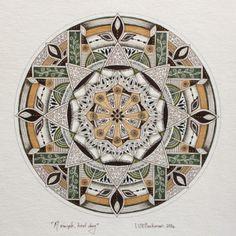 a simple kind day. Hand drawn mandala art by Lize Beekman.