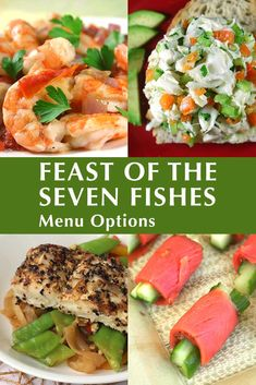 The Feast of the Seven Fishes menu: one of my favorite Christmas Eve traditions! Here are some delicious (and easy!) Feast of the Seven Fishes recipes if you're hosting this traditional Italian Christmas Eve dinner this year! Seven Fishes, 7 Fishes, Christmas Eve Dinner, Italian Christmas, Christmas Foods, Christmas Recipes, Paella, Pan Fried Salmon, Italian Pasta Dishes