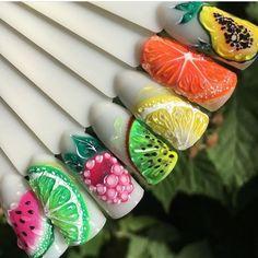 Fruit Nail Designs, Butterfly Nail Designs, Nail Designs Spring, Stylish Nails, Trendy Nails, Cute Nails, Nail Art Hacks, Nail Swag, Fruit Nail Art