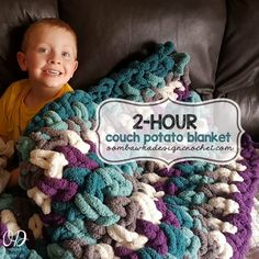 Couch Potato Blanket Free Crochet Pattern from Oombawka Design Make this super soft, super plush blanket today! You can crochet the couch size version in or the larger version (with double the yarn) in Have fun! via Couch Potato Blanket Crochet Crafts, Crochet Yarn, Easy Crochet, Free Crochet, Crochet Projects, Finger Knitting Projects, Knitting Tutorials, Yarn Projects, Crochet For Beginners Blanket
