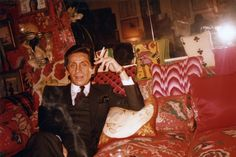 """fashionsairen:  """""""" Another never-before-seen photograph of the designer from his personal archive, taken at Diana Vreeland's home.  """" """""""