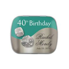 Las Vegas Dice Swoop 40th Birthday silver teal Jelly Belly Candy Tins