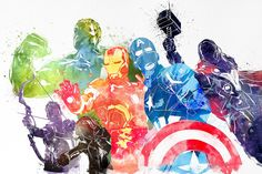 I love the marvel cinematic universe! Watched Avengers 2 recently, love it as expected. I ended up rewatching all the Marvel movies I can find, while working on this piece :] Hope you guys like it. Marvel Avengers, Avengers Fan Art, Avengers Poster, Marvel Memes, Marvel Dc Comics, Poster Marvel, Splatter Art, Watercolor Splatter, Marvel Tattoos