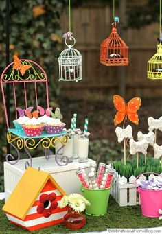 kids garden party sweets- could finally use all those mini bird cages I bought