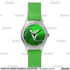 PRINTED GREEN EMERALD GEMSTONE MONOGRAM WRIST WATCH #gemstones #fashion #watch #accessory #gems #3d #geek #tech #jewel