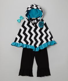 Take a look at this Black & Aqua Dallas Poncho Set - Infant, Toddler & Girls by Million Polkadots on #zulily today!