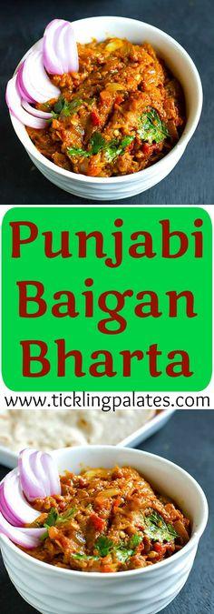 Punjabi Baingan Bharta - Grilled Eggplant Mash #vegan #vegetarian #glutenfree…                                                                                                                                                     More