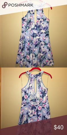 Floral skater skirt dress Slit in front and open back. High neck. So gorgeous and comfortable. WINDSOR Dresses Midi