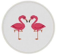 Flamingo cross stitch pattern Bird Сross by MagicCrossStitch Kawaii Cross Stitch, Cross Stitch Heart, Cross Stitch Fabric, Cross Stitch Borders, Cross Stitch Animals, Cross Stitching, Cross Stitch Embroidery, Embroidery Patterns, Free Cross Stitch Charts
