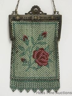Stunning-Mandalian-Enamel-Rose-Antique-Art-Deco-Mesh-Flapper-Purse