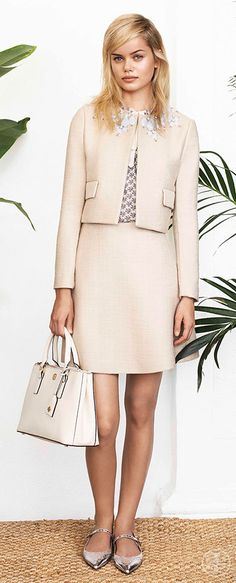 Embrace Sixties chic with a little skirt suit   Tory Burch Spring 2014
