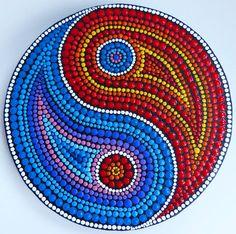 Jin-Jang Mandala, painted by Melinda Tamas, dot painting, acrylic paint on canvas, 15 cm