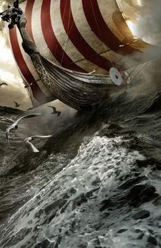 A nice painting of a Viking ship in the open ocean !