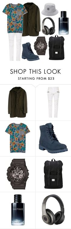 """""""D"""" by hannahjerao on Polyvore featuring YOHJI YAMAMOTO POUR HOMME, Balmain, Aéropostale, Timberland, G-Shock, Herschel Supply Co., Christian Dior and Beats by Dr. Dre"""