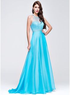 A-Line/Princess Scoop Neck Sweep Train Chiffon Prom Dress With Beading Sequins