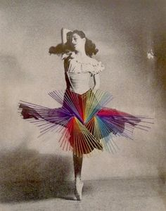 I'm easily captivated by photography of dance, especially when it is vintage photgraphy, like these beautiful black and white embroidered photographs of ballerina's.   Chilean artist Jose Romussi takes vintage black & white photographs of ballerina and stitches upon the images colorful threadwork, adding a playful touch to the dancer's frozen posture  http://www.karenruimy.com/blog/2012/04/18/jose-romussi-photo-embroidery/