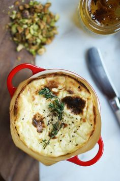Baked Ricotta Dip with Truffle Honey & Crushed Pistachios | #glutenfree #vegetarian