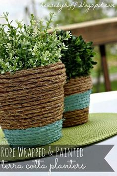 Rope covered flower pots!