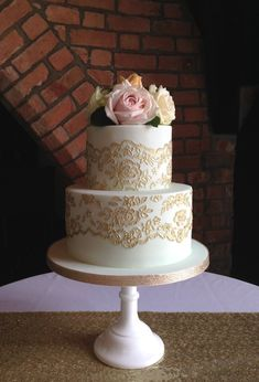 Mint and Gold Lace Wedding Cake